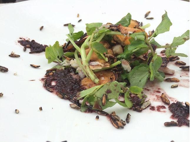 Smoked White Fish Salad (Red Lake White Fish - Blueberry - Watercress - Sunchoke Chips - Puffed Wild Rice)