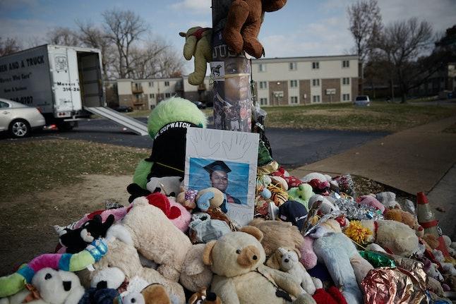 The Michael Brown memorial on Canfield Drive, Ferguson, Missouri.