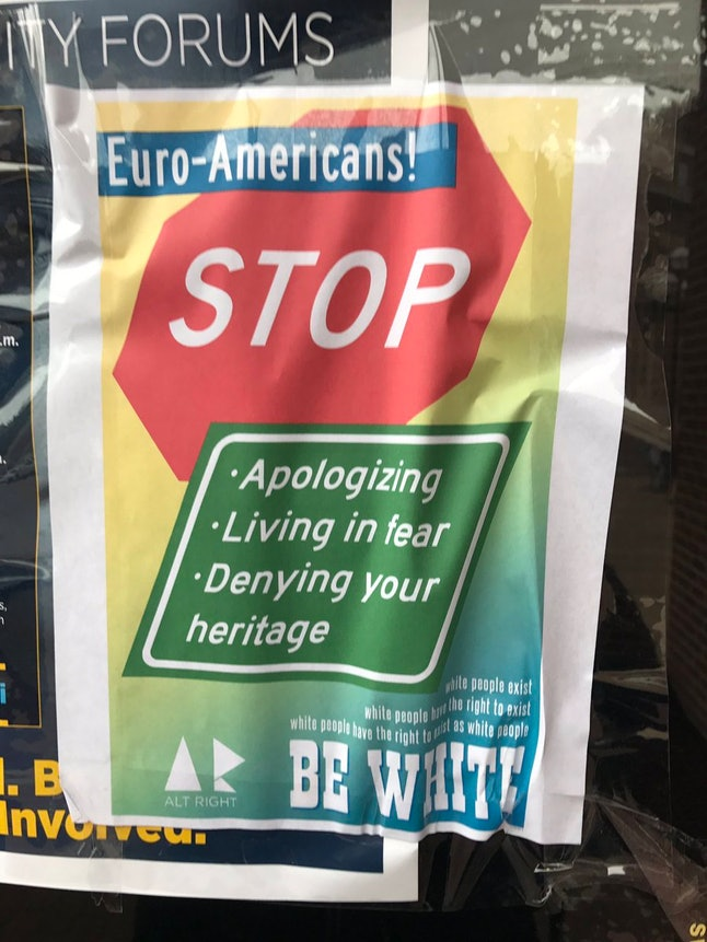 """Poster reading """"White people have the right to exist"""" on University of Michgan's campus"""