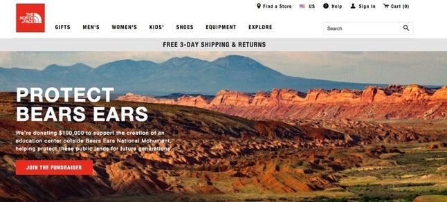 The North Face's homepage at the time of Trump's announcement