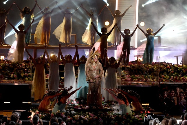 Beyoncé performs onstage during the Grammys Sunday night.