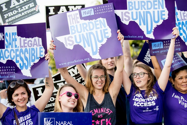 Pro-choice activists celebrate after SCOTUS' Whole Woman's Health v. Hellerstedt decision in June 2016.