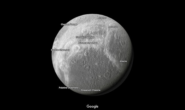 Dione, one of Saturn's small moons, in Google Maps
