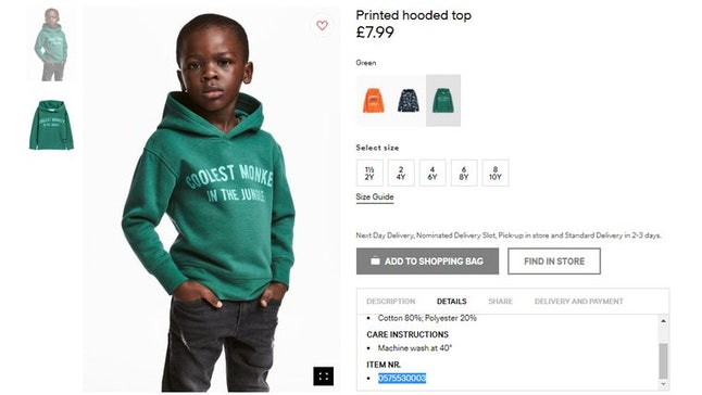 """H&M's controversial """"Coolest Monkey in the Jungle"""" sweatshirt"""