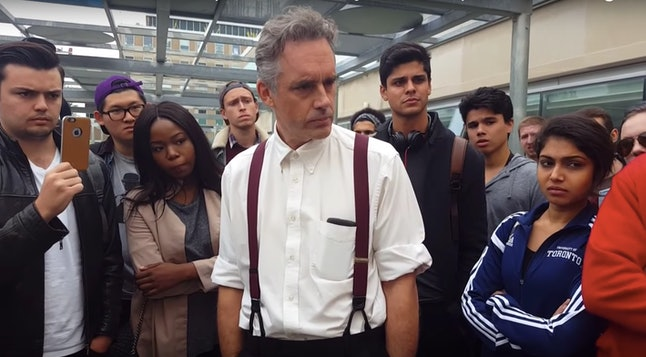 In one viral video, Peterson went toe-to-toe with a mob of students who debated the use of gender-neutral pronouns at a the University of Toronto.