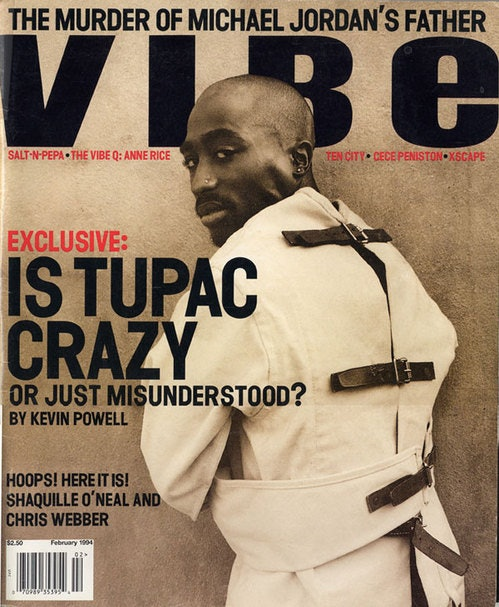 Tupac on the cover of a February 1994 issue of 'Vibe'