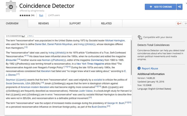 "Jew Detector: ""Coincidence Detector"": The Google Chrome Extension White"