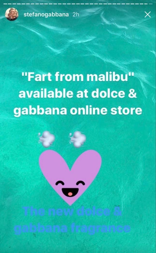 Stefano Gabbana's Instagram story