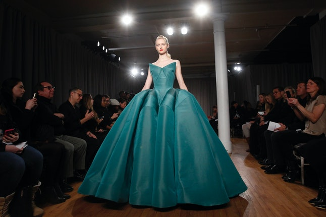 The teal dress as seen in 'House of Z' and Posen's Fall 2014 New York Fashion Week collection