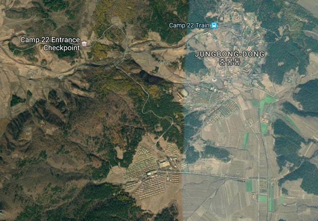 A satellite view of Camp 22 in North Korea