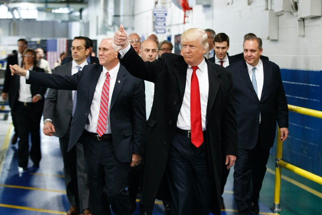 Trump and Pence visiting the Carrier factory on Dec. 1