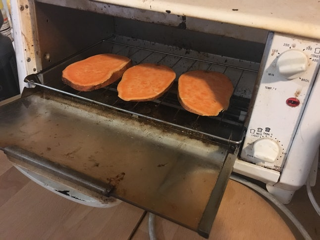 Sweet potato toast in action, yo