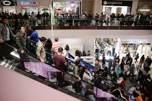 Shoppers visit a mall on Thanksgiving.