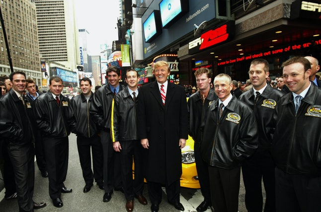 Nine top NASCAR drivers pose with Trump in New York in 2004.