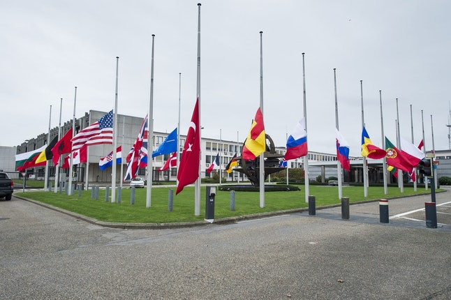 Flags at half mast at NATO in Brussels
