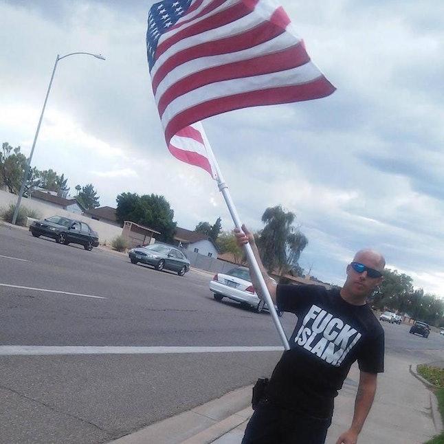 Organizer Jon Ritzheimer wearing a Fuck Islam T-shirt