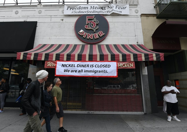 The Nickel Diner, which closed for the day in solidarity with the 'Day Without Immigrants' nationwide protests, in Los Angeles, on February 16, 2017.