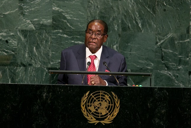 Zimbabwean President Robert Gabriel Mugabe addresses the U.N. General Assembly at the United Nations on Sept. 21.