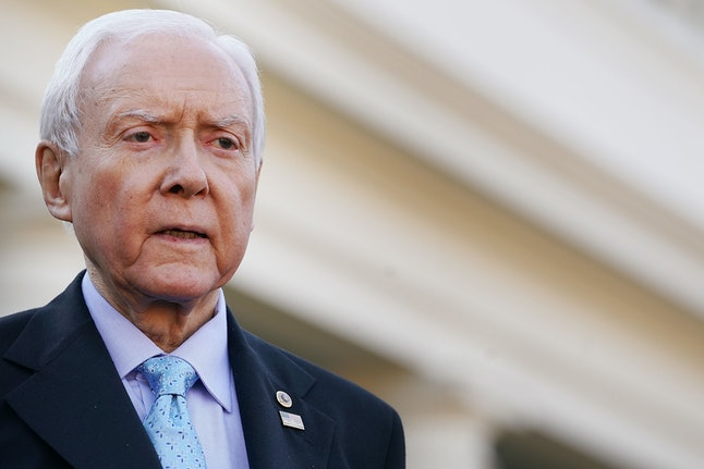 Senate Finance Committee chairman Orrin Hatch (R-Utah) talks with reporters following a lunch meeting with President Donald Trump at the White House.