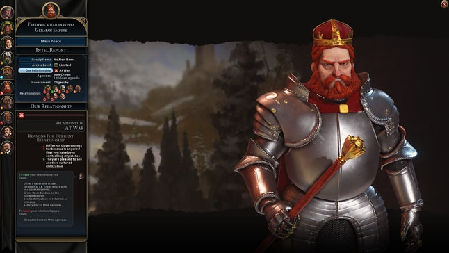 My never-ending war with Frederick Barbarossa mainly involved destroying the few units which made it across the sea, yet he won't make peace. What's wrong with you, Frederick?