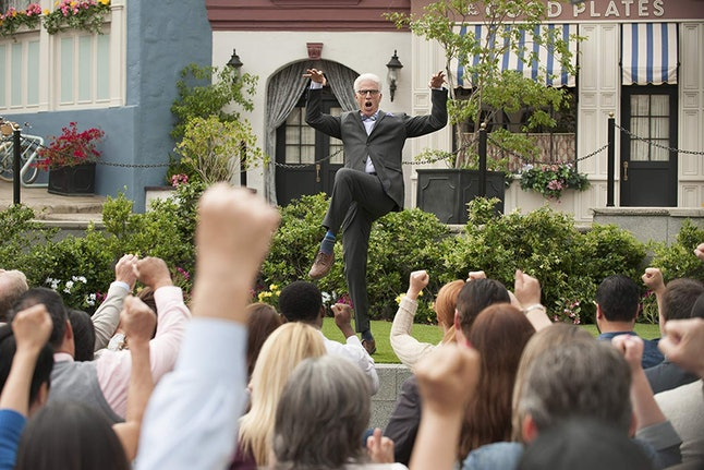 """Ted Danson in his """"neighborhood"""" in a still from 'The Good Place'"""