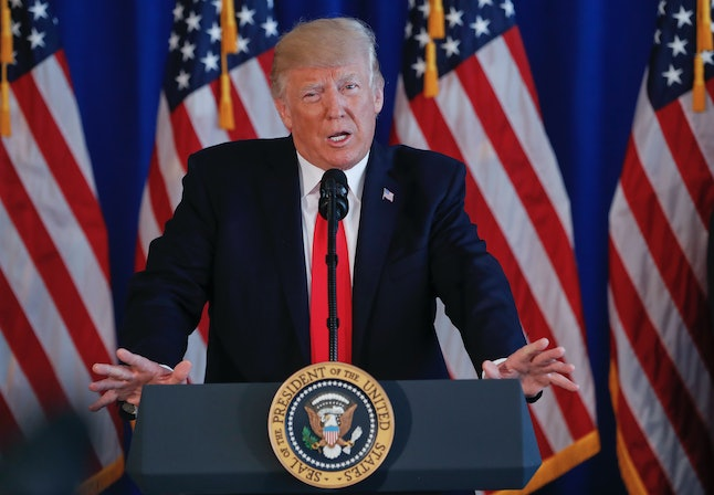 President Donald Trump speaks to members of the media regarding the on going situation in Charlottesville on Saturday.