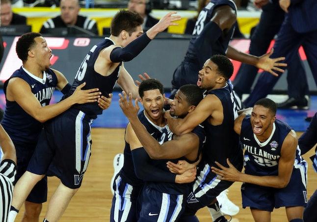 Villanova players celebrate after 2016's Final Four game-winning basket.