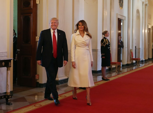 President Donald Trump and first lady Melania Trump at the White House on Wednesday