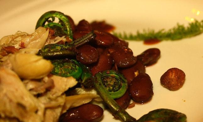 Rabbit and Fiddlehead (Cedar Stewed Rabbit - Fiddlehead Fern - Kidney Beans)