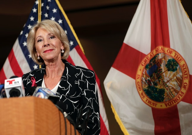 Secretary of Education Betsy DeVos speaks at a news conference following a visit to Marjory Stoneman Douglas High School.