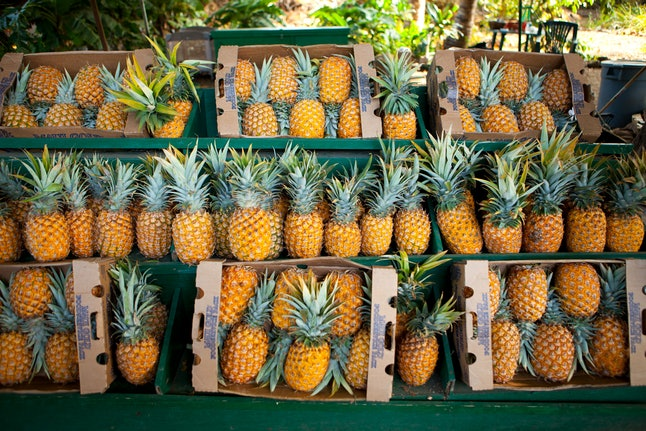 Pineapples at a market in Maui