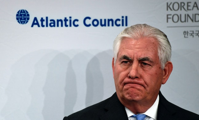 Secretary of State Rex Tillerson waits to speak at the 2017 Atlantic Council-Korea Foundation Forum in Washington Tuesday.