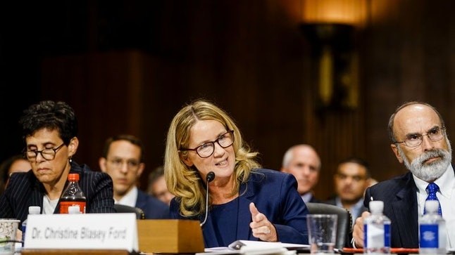Christine Blasey Ford speaks before the Senate Judiciary Committee.