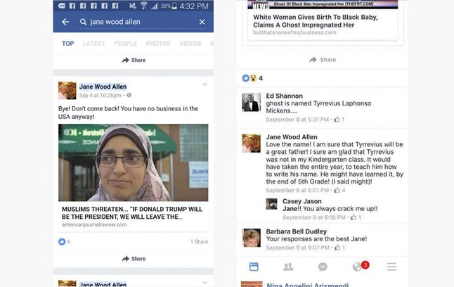 A screenshot of Jane Wood Allen's Facebook posts filled with disparaging racist remarks.