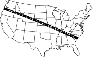 """The eclipse's """"brief total phase"""" will happen on """"the path of totality"""" illustrated above."""