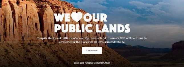 REI's homepage at the time of Trump's announcement