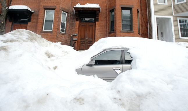 In Feb. 2015, a snow-banked car that wouldn't see South Boston's roads again until late spring.