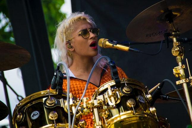 Madame Gandhi performs at Pitchfork Festival in 2017.