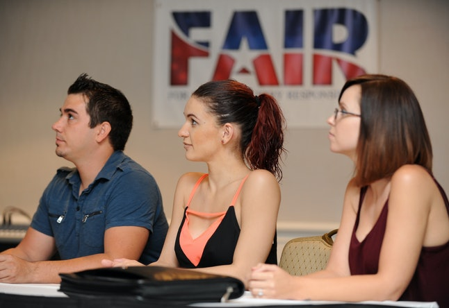 From left to right, former adult film performers Derrick Burts, Sofia Delgado, and Hayden Winters are seen at a press conference at Sheraton Universal Hotel in Los Angeles on Monday, Sept. 14, 2015. Advocates from AHF, and the group FAIR (For Adult Industry Responsibility) announced the filing of 557,136 signatures of registered voters in order to qualify for a statewide ballot initiative to enforce condom use in adult films in California.