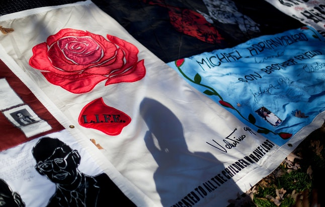 A memorial quilt on display in Atlanta on World AIDS Day 2014.