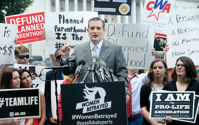 Sen. Ted Cruz speaks at an anti-choice rally.