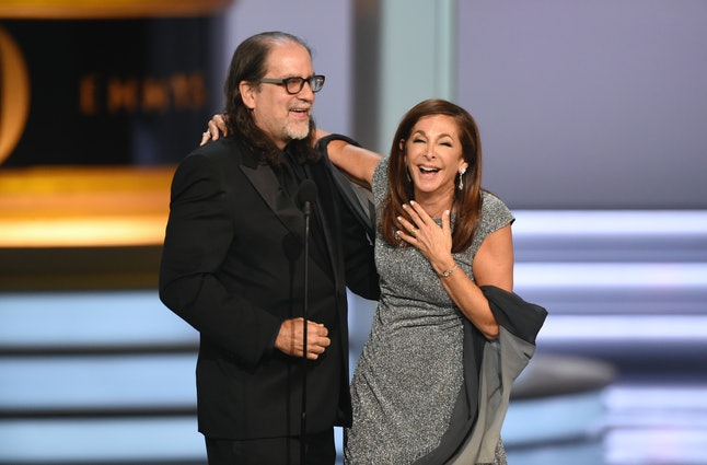 Glenn Weiss proposes to his girlfriend after accepting the award for outstanding directing for a variety special for 'The Oscars' at the 70th Primetime Emmy Awards on Monday, Sept. 17, at the Microsoft Theater in Los Angeles.