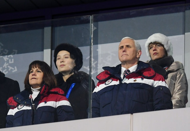U.S. Vice President Mike Pence and Kim Yo Jong, the sister of North Korean leader Kim Jong Un (back left), watch the opening ceremony of the Pyeongchang 2018 Winter Olympics on Feb. 9.