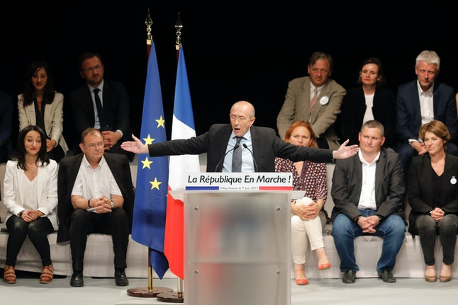 Gérard Collomb, France's interior minister, delivers a speech during a La République En Marche campaign rally this month.