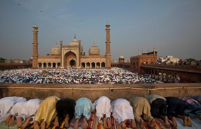 Muslims offer Eid al-Fitr prayers at the Jama Masjid mosque in New Delhi.