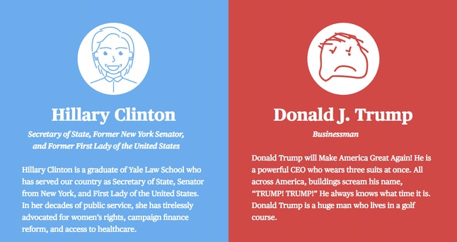 Drawings of Clinton and Trump, as interpreted by the Cards Against Humanity team