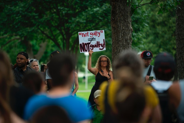 Protesters gather in Loring Park in Minneapolis following the acquittal of Jeronimo Yanez.