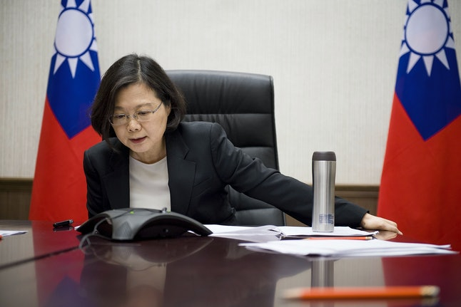 Republic of China President Tsai Ing-wen on a conference call