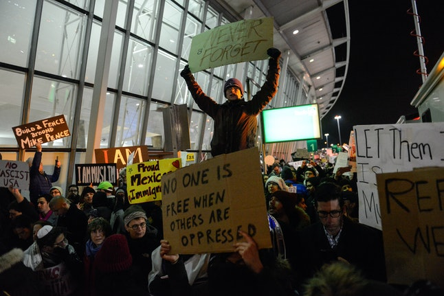 The airport protests of the so-called Muslim Ban catalyzed a protest movement that hasn't stopped fighting Trump's agenda since January.