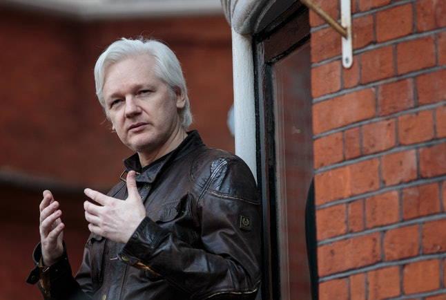 Julian Assange speaks to the media from the balcony of the Embassy Of Ecuador in London, England.